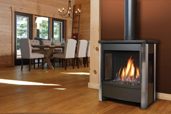 Marquis vantage freestanding gas stove with three-sided glass and bronze media