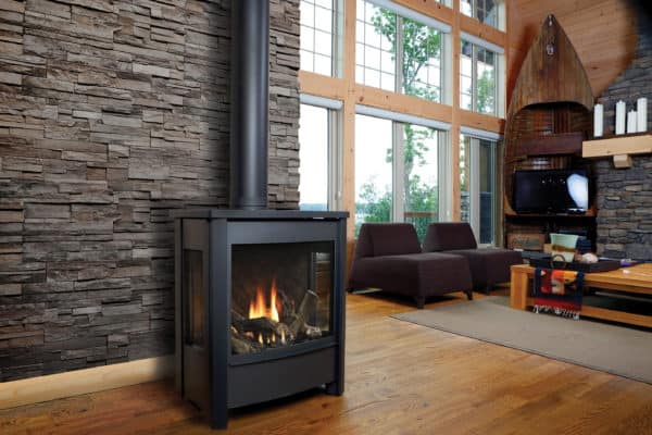 Marquis vantage freestanding gas stove with three-sided glass