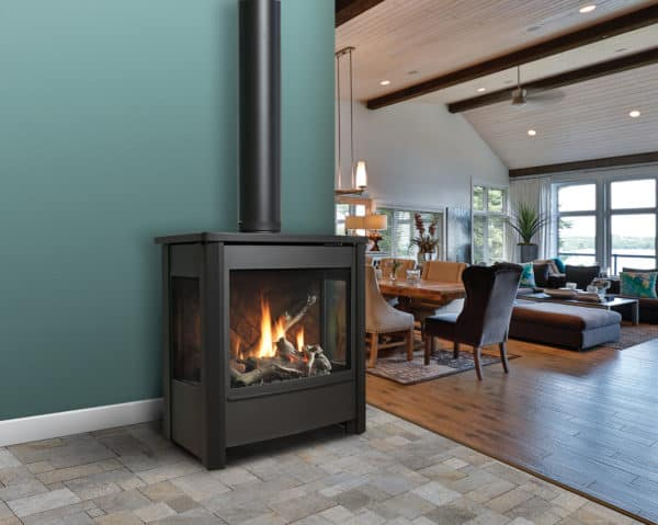 Marquis vantage freestanding gas stove with driftwood log set