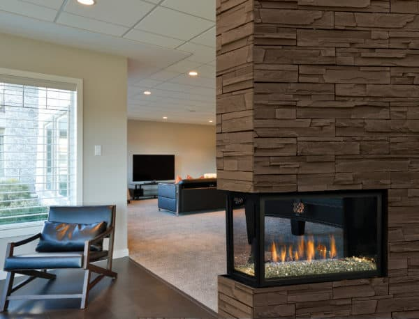 Marquis atrium peninsula gas fireplace with glacier ice media