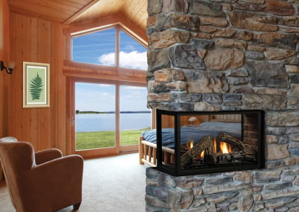 Marquis atrium peninsula gas fireplace with oak log set
