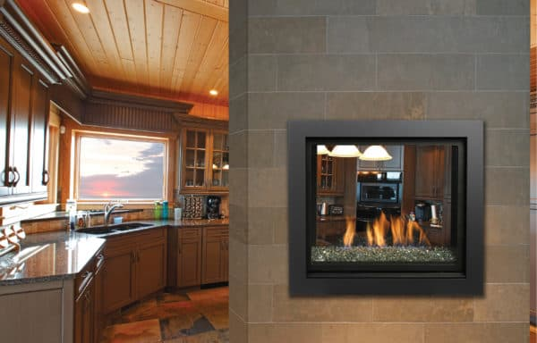 Marquis bentley see-through gas fireplace with glacier ice glass media
