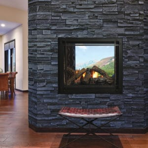 Marquis Bentley See-Through Gas Fireplace with Oak Log Set