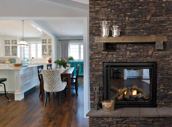 Marquis bentley see-through gas fireplace with designer door front