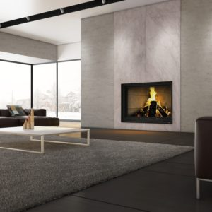 Valcourt FP11 Frontenac Wood Fireplace with Contemporary Brick Panels | Safe Home Fireplace: Strathroy & London Ontario