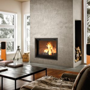 Valcourt Antoinette FP7CB wood fireplace with contemporary bricks | Safe Home Fireplace in London & Strathroy Ontario