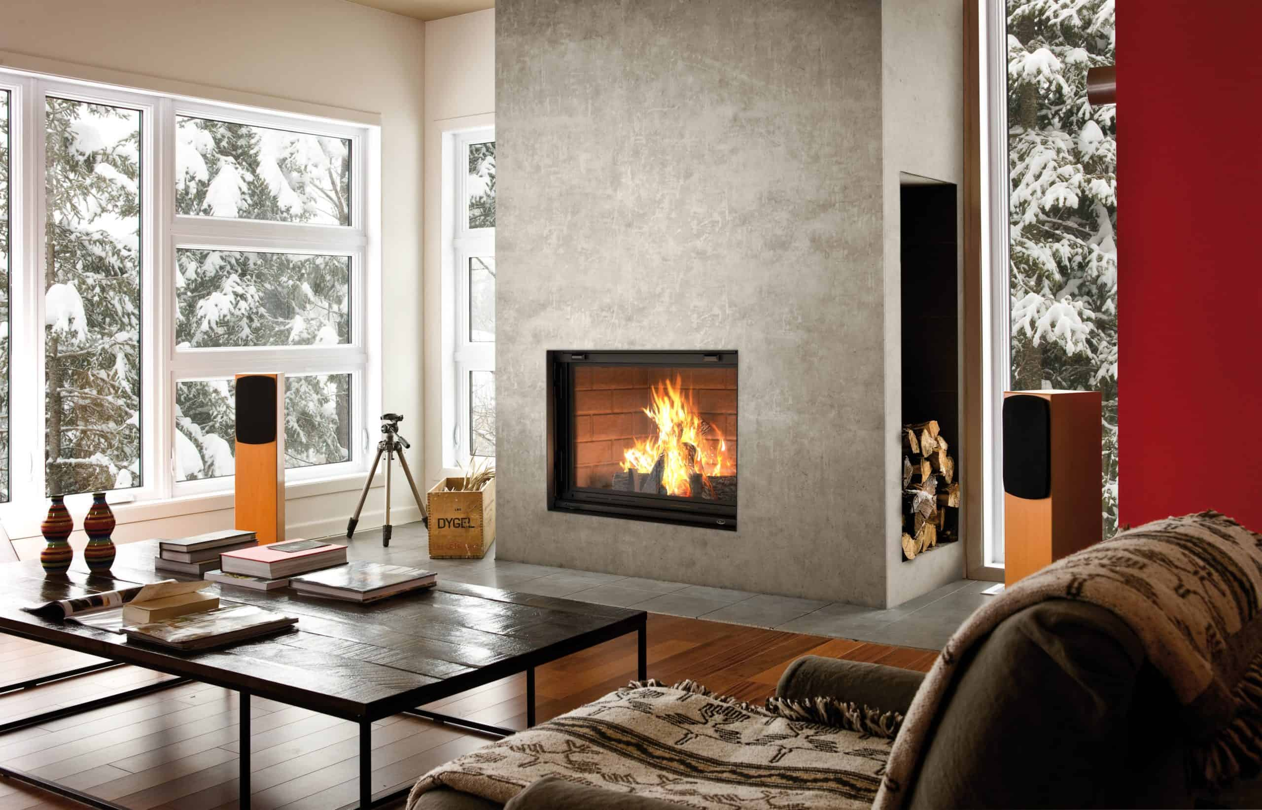 Valcourt Antoinette FP7CB wood fireplace with classic brick panels | Safe Home Fireplace: Strathroy & London Ontario