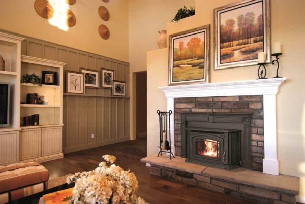 Enviro Boston 1700 wood fireplace insert in room