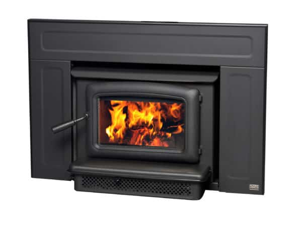 Pacific Energy Vista wood fireplace insert with black door