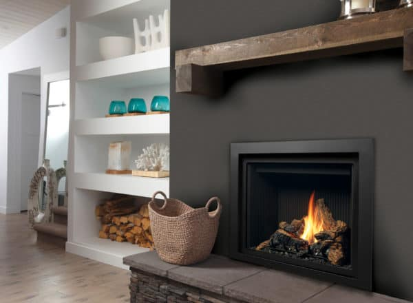 Marquis bentley 39 gas fireplace with log set and fluted liner