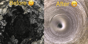 Before and after image on safe home fireplace website