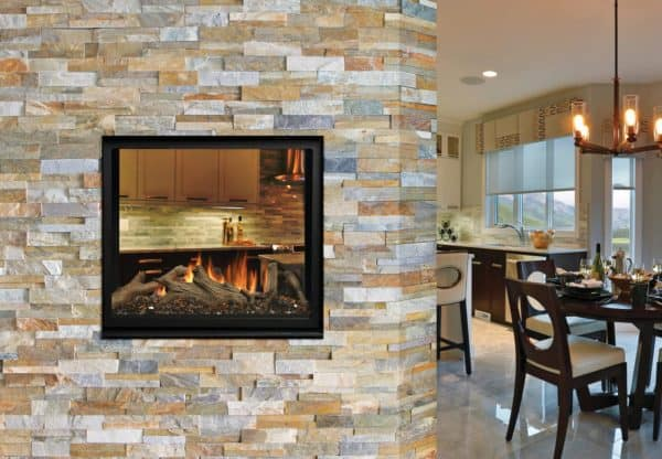 Marquis bentley see-through gas fireplace with driftwood