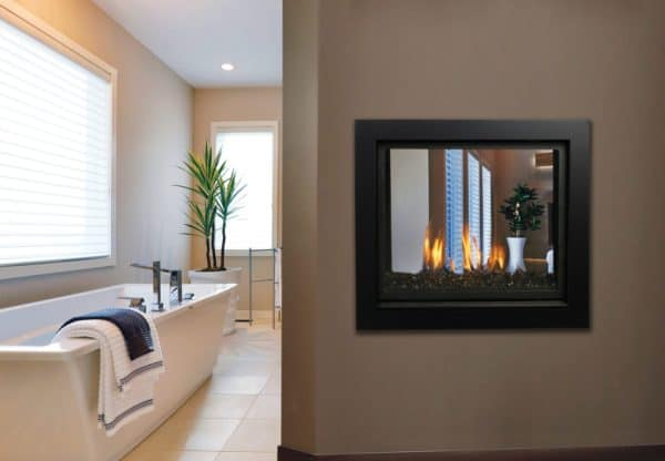 Marquis bentley see-through gas fireplace with glass media