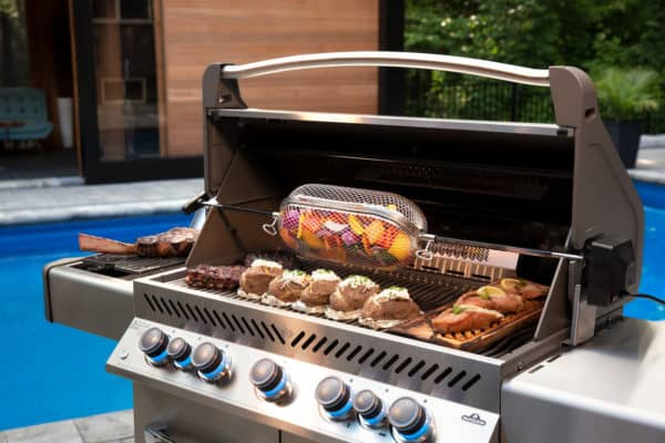 Prestige 665 life rotisserie basket in use 1 image on safe home fireplace website