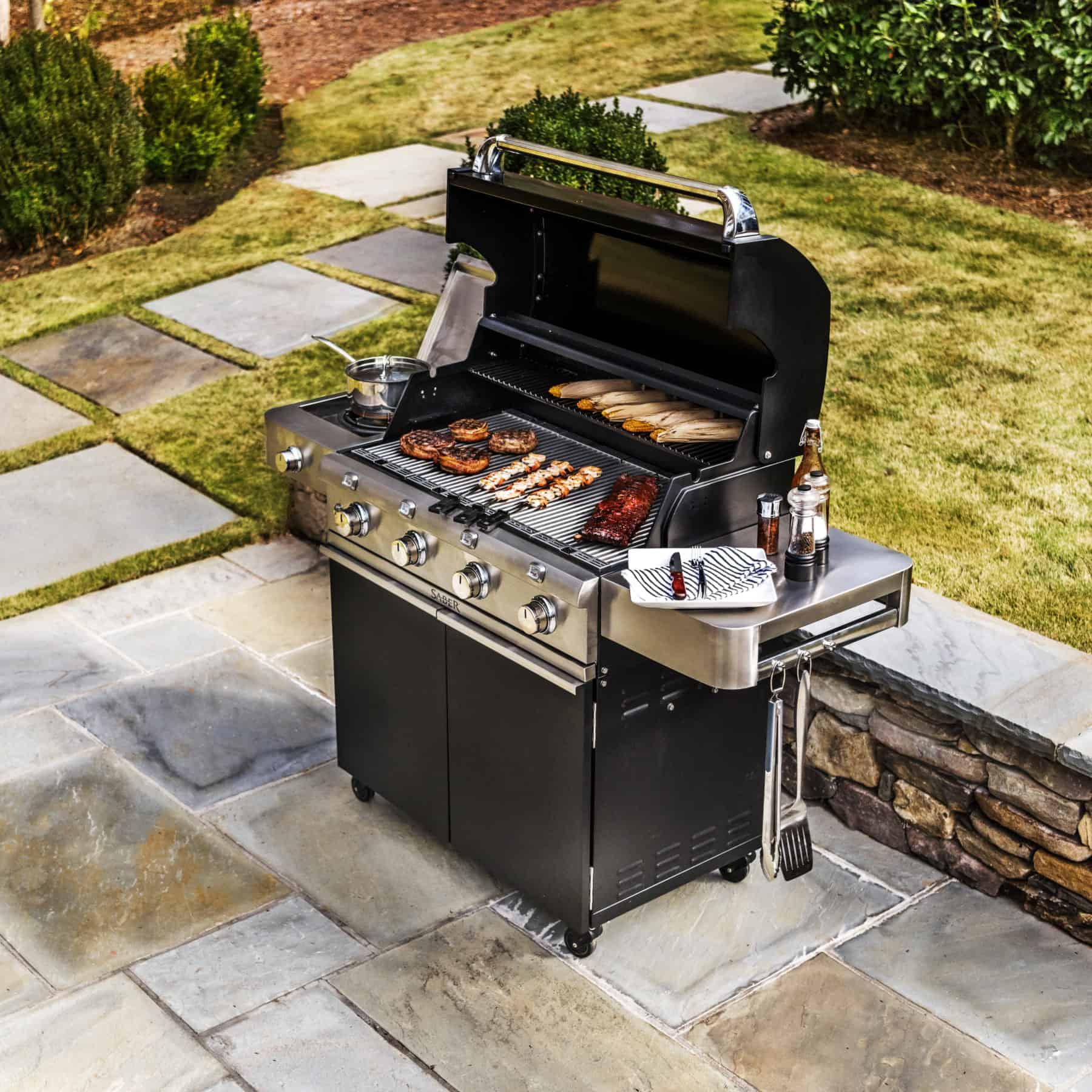 Saber 4-Burner Cast Black Gas Grill - Safe Home Fireplace