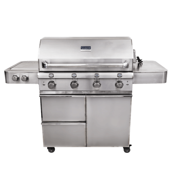 Saber elite 4-burner stainless steel gas grill | safe home fireplace: london and strathroy on
