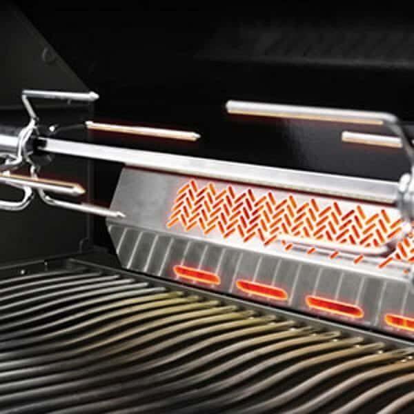 Infrared rotisserie burner with rotisserie kit