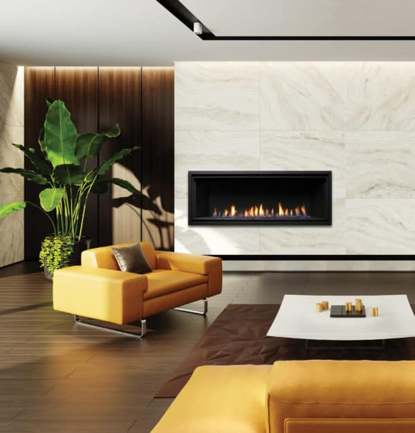 "Marquis serene 60"" linear gas fireplace with yellow sofa"