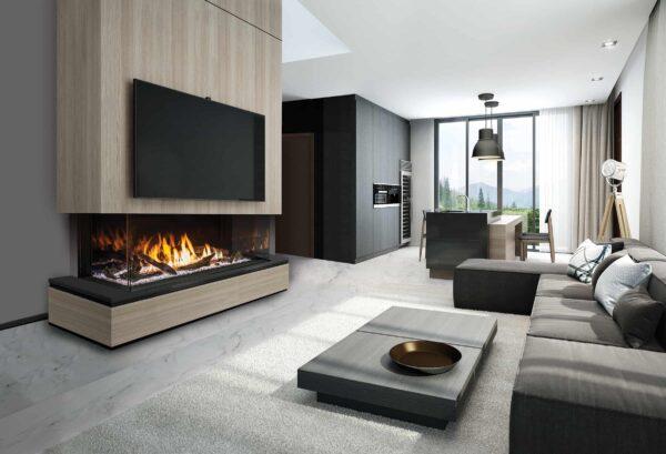 Urbana U70 gas fireplace with driftwood