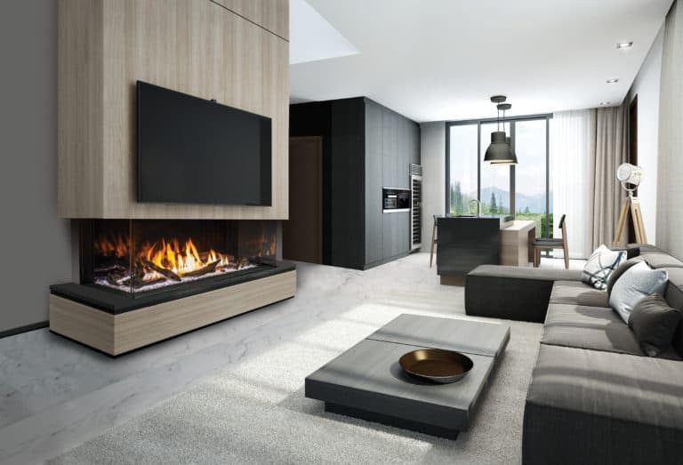 Urbana u70 gas fireplace with driftwood