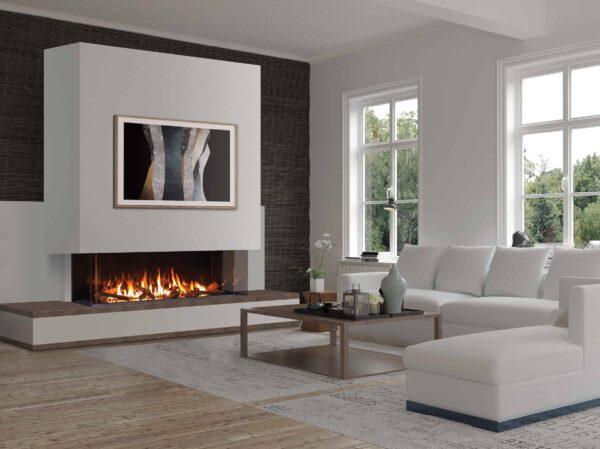 Urbana U70 Multi-Sided Gas Fireplace with white surround