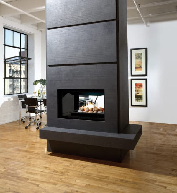 Marquis gemini see through gas fireplace with river rocks