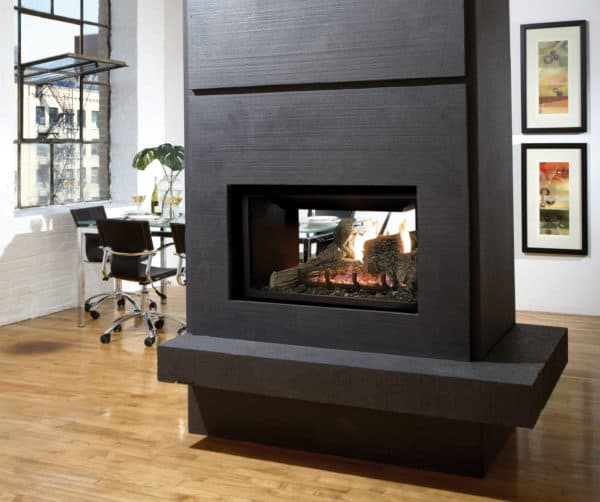 Marquis gemini see through gas fireplace with log set