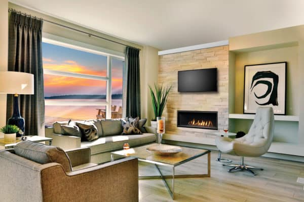 """Marquis serene 47"""" linear gas fireplace with tv above"""