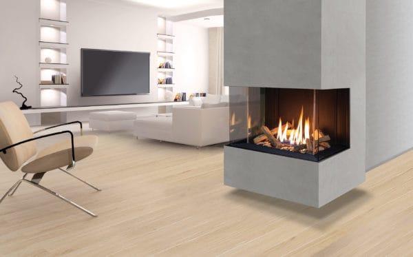 Urbana u30 multi-sided gas fireplace with grey surround
