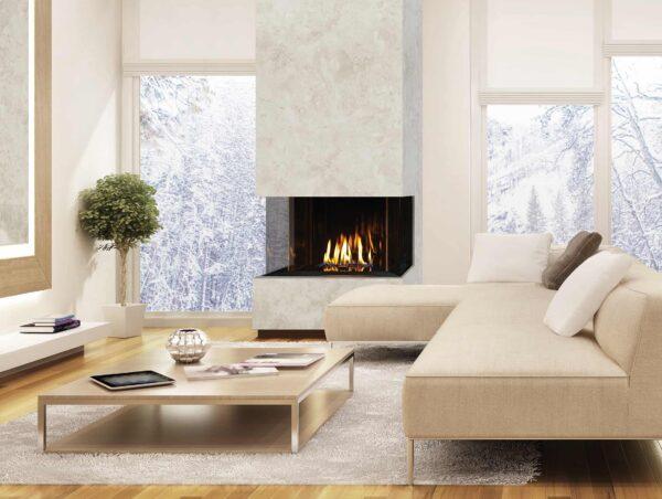Urbana u30 gas fireplace with marble surround