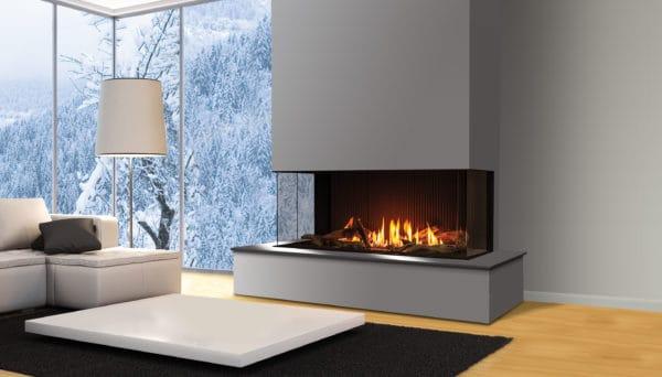 Urbana u50 gas fireplace with grey painted surround