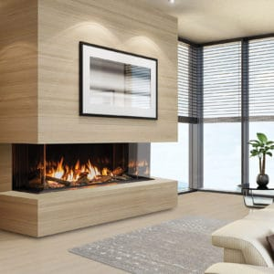 Urbana U50 gas fireplace with light wood surround