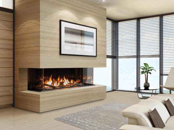 Urbana u50 gas fireplace with light wood surround