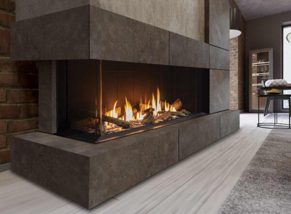 Urbana u50 gas fireplace with concrete wood-style surround