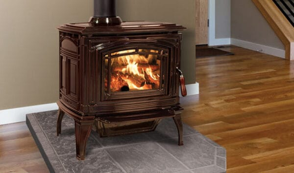 Enviro boston 1700 wood stove with antique chestnut finish | safe home fireplace in london & strathroy ontario