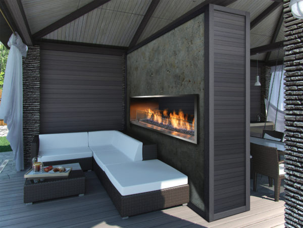 "Barbara jean 36"" outdoor linear gas fireplace 
