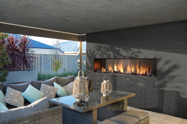 """Barbara jean 72"""" linear outdoor fireplace 