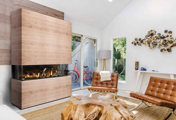 Marquis enclave 60 gas fireplace - a linear fireplace that can be installed as a single-sided, corner or bay peninsula style unit - safe home fireplace in london & strathroy ontario